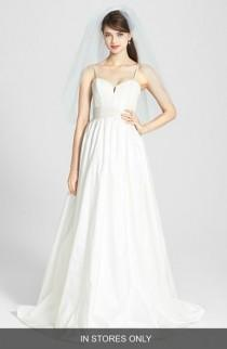 wedding photo - Amsale 'Cameron' Lace Appliqué Corset Bodice Silk Taffeta Dress (In Stores Only)