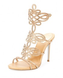 wedding photo - Laser-Cut Crystal 105mm Sandal, Gold