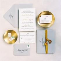 wedding photo - Gray and Gold Invitation
