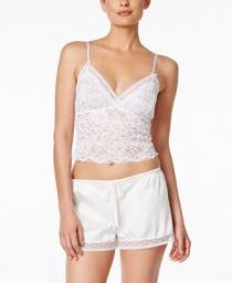 wedding photo - Oscar de la Renta Oscar de la Renta Lace Crop Top and Satin Shorts Pajama Set