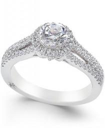 wedding photo - Marchesa Marchesa Certified Diamond Halo Ring (1 ct. t.w.) in 18k White Gold