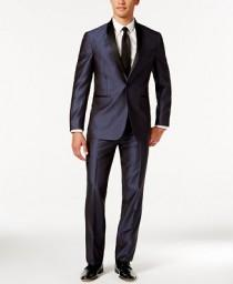 wedding photo - Kenneth Cole Reaction Kenneth Cole Reaction Blue Shawl Collar Slim-Fit Tuxedo
