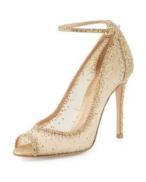 wedding photo - Gemma Crystal Peep-Toe Ankle-Strap Pump, Gold