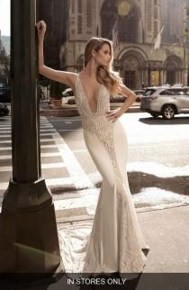wedding photo - Berta Plunge Neck Illusion Mermaid Gown (In Stores Only)