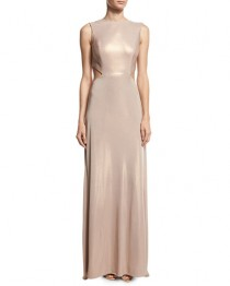 wedding photo - Sleeveless Twist-Back Metallic Jersey Column Gown, Primrose