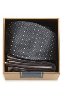wedding photo - The Tie Bar Dot Silk Bow Tie & Cotton Pocket Square Style Box