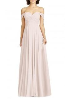 wedding photo - Dessy Collection Lux Off the Shoulder Chiffon Gown