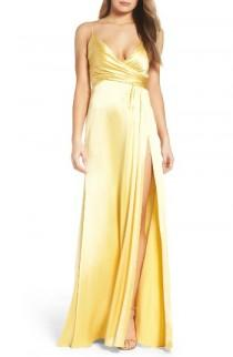 wedding photo - Jill Jill Stuart Faux Wrap Satin Gown
