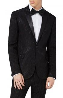 wedding photo - Topman Ultra Skinny Fit Jacquard Leaf Tuxedo Jacket