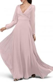 wedding photo - Watters Donna Luxe Chiffon Surplice A-Line Gown
