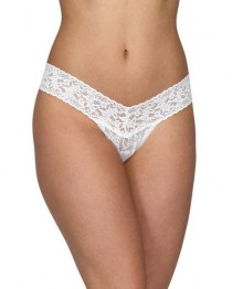 wedding photo - Low-Rise Pearl Lace Thong, Light Ivory