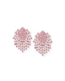 wedding photo - Pink Sapphire Fringe Earrings in 18K Gold