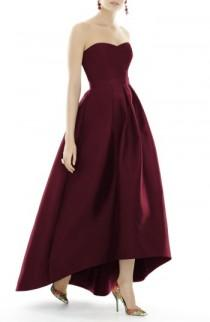 wedding photo - Alfred Sung Strapless High/Low Sateen Twill Gown