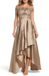 wedding photo - Adrianna Papell Embellished High/Low Off the Shoulder Dress