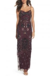 wedding photo - Adrianna Papell Floral Beaded Column Gown