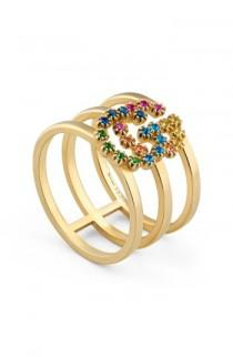 wedding photo - Gucci Double G Multi Stone Three-Row Ring