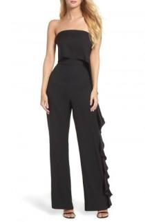 wedding photo - Eliza J Ruffle Side Strapless Jumpsuit