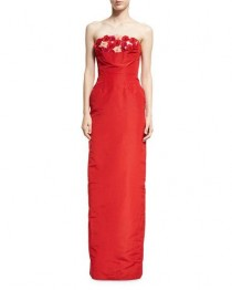 wedding photo - Strapless Floral Faille Column Gown