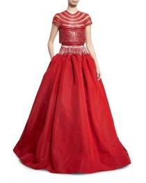 wedding photo - Beaded Fringe Cap-Sleeve Ball Gown, Red