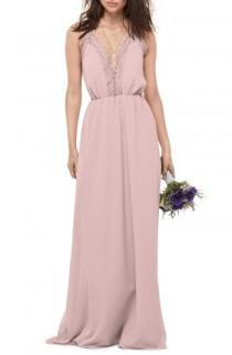 wedding photo - WTOO Lace Trim Chiffon Halter Gown