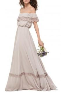 wedding photo - WTOO Inna Off the Shoulder Chiffon Blouson Gown