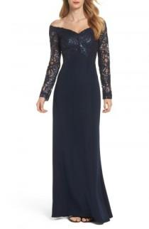 wedding photo - Tadashi Shoji Sequin Off the Shoulder Gown