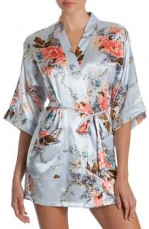 wedding photo - In Bloom by Jonquil Floral Print Satin Robe