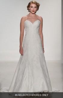 wedding photo - Matthew Christopher Adaline Strapless Lace A-Line Gown