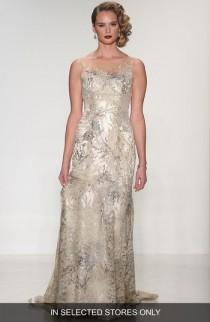 wedding photo - Matthew Christopher Thyme Sleeveless Illusion Embroidered Lace Gown