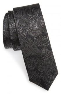 wedding photo - The Tie Bar Textured Paisley Silk Tie