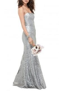 wedding photo - WTOO Talisa Sequin Mesh Strapless Gown