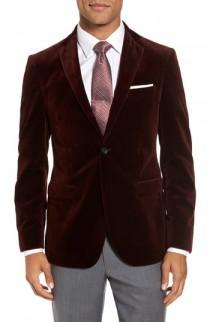 wedding photo - Strong Suit Noble Trim Fit Velvet Blazer
