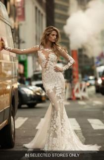 wedding photo - Berta Illusion Long Sleeve Mermaid Gown