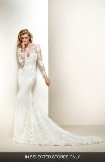 wedding photo - Pronovias Drakar Embroidered Illusion Crepe & Tulle Mermaid Gown