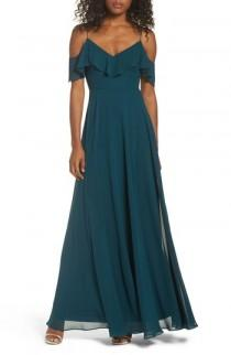 wedding photo - Jenny Yoo Cold Shoulder Chiffon Gown