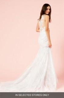 wedding photo - BLISS Monique Lhuillier Illusion V-Neck Trumpet Dress
