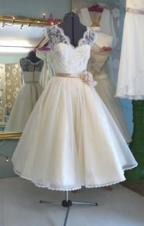 wedding photo - Tea length ivory wedding dress with a stylish belt