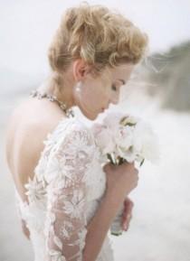 wedding photo - Stunning Flower Motifs Embroidered Long Sleeves Wedding Dress ♥ Backless Wedding Dress