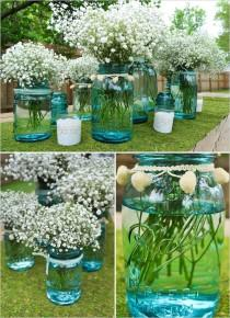wedding photo - DIY Aqua Blue Mason Jar Wedding Centerpiece ♥ Baby's Breath Arrangements for Wedding Wecor