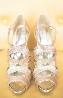 wedding photo - Peach Gold-Sparkly Brautschuhe ♥ Glitter Brautschuhe