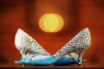 wedding photo - Scarpe da sposa blu Sparkly