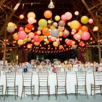 wedding photo -  Colorful Hanging Chinese Paper Lantern for Barn or Garden Wedding Decor | Renkli Fenerlerle Suslu Kir Dugunleri