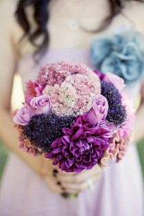 wedding photo - Beautiful Pink and Purple Bouquet ♥ Bride and Bridesmaid Bouquet Ideas