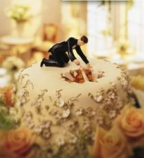 wedding photo - Funny Bride and Groom Wedding Cake Topper ♥ Hilarious Wedding Cake Topper