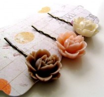 wedding photo - Vintage Rose Flower Bobby Pins