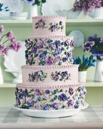 wedding photo -  Vintage Floral Wedding Cake