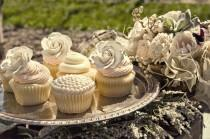 wedding photo -  Vintage Homemade Wedding Cupcakes