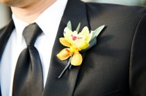 wedding photo -  Black Suit and Yellow Boutonniere for Groom