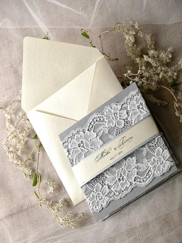 vintage lace wedding invitations custom listing 20 silver and grey wedding invitation 8288