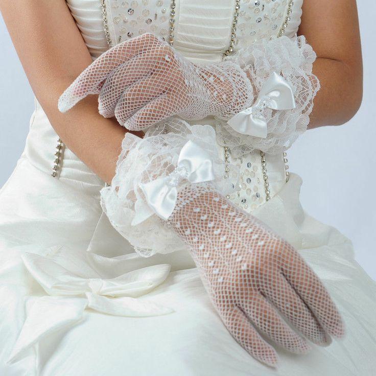Ivory Lace Las Short Bridal Wedding Gloves Wrist Length Fingered W Satin Bow